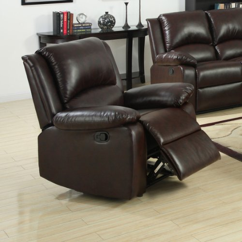 - Furniture of America Wulner Leatherette Recliner Chair, Rustic Dark Brown Finish