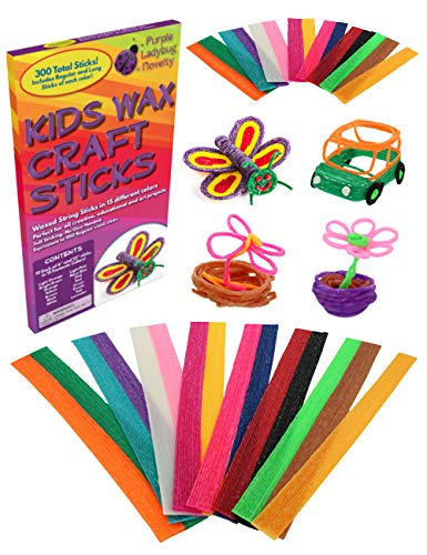 Purple Ladybug Wax Craft Sticks for Kids: 15 Colors, 2 Lengths - 6 Inch Standard & 12 Inch Super Long - 150 of Each! Non-Toxic, Bendable Sticky Yarn Stix in Bulk for Kids Art Supplies, Crafts & Travel