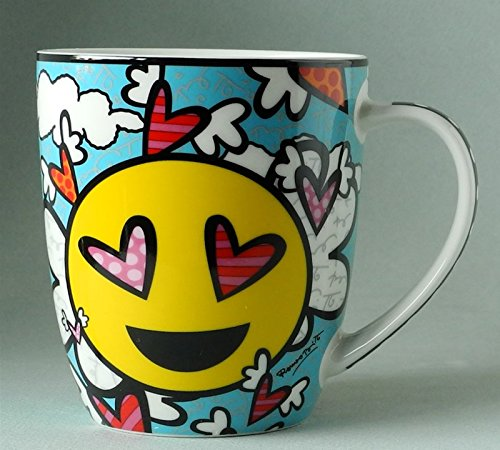 Romero Britto Bone China Mug, Sold Separately (Flying Hearts) -