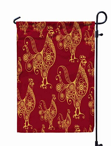 Shorping Welcome Garden Flag, 12x18Inch Texture Pattern Cock Rooster Symbol Fire Suitable Cloth Web Wrapping New Years Wallpaper for Holiday and Seasonal Double-Sided Printing Yards Flags ()