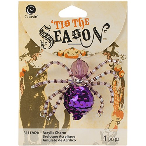 Tis The Season Metal Charms-Purple Beaded Spider