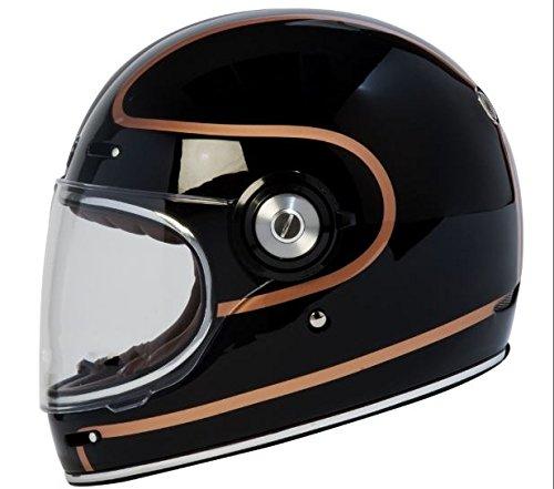 TORC T1 Retro Fiberglass Full-Face-Helmet-Style Motorcycle Helmet with Graphic (Copper Pin Gloss Black,Medium), 1 (Helmet Style Pin)