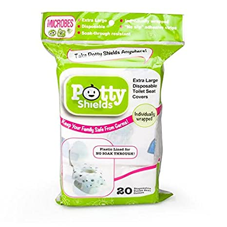 Original - 40 Pack Extra-Large No Slip Individually Wrapped by Potty Shields Toilet Seat Covers- Disposable XL Potty Seat Covers