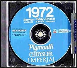 1972 Chrysler Shop Manual Imperial Newport New Yorker LeBaron Repair Service