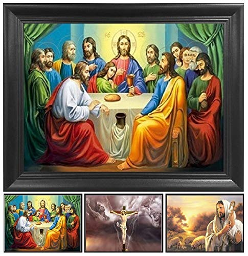 The Last Supper, Jesus Christ 3D Poster Wall Art Decor Framed Print | 14.5x18.5 | Lenticular Posters & Pictures | Memorabilia Gifts for Guys & Girls Bedroom | Picture of Catholic Religious Artwork
