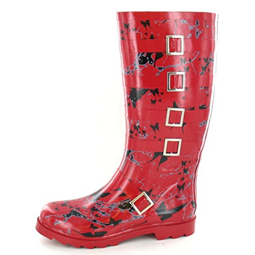 Womens Mottled On Spot with Red Buckle Boots Design Ladies Butterfly Wellington fwHgOSq