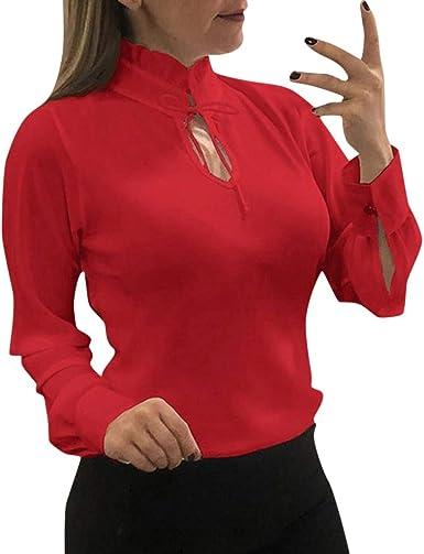 Yuyug - Camisa de Manga Larga de Muselina de Seda para Mujer Rojo 38: Amazon.es: Ropa y accesorios