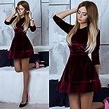 Meolin Women's Velvet Party Dress Elegant Long Sleeves Loose Short Dress,Red wine,S