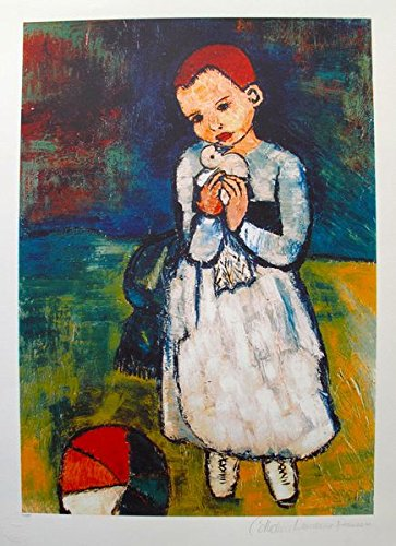 Art Prints by Pablo Picasso Child Holding a Dove Pencil Hand Signed on the Lower Right Paper with Border Measures 26 inches x 20 inches