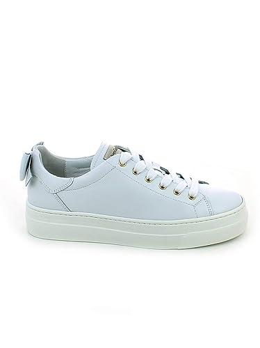 Nero Giardini - Sneaker in Pelle Bianca con Fiocco Posteriore ... 8fdc161aa93