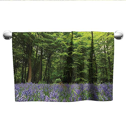 alisoso Woodland,Sweat Towel Sea of Bluebells Flowers in Forest Springtime April Countryside Seasonal Picture 3D Digital Printing Purple Green W 10