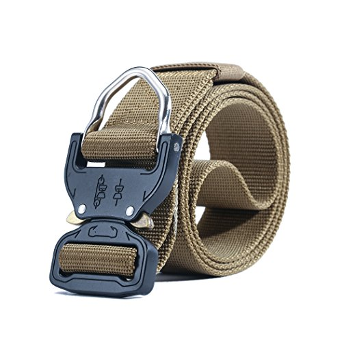 MOLLE Tactical Rigger D-Ring Waist Belt Clip Compact Rappel Universal CQB Military Web Nylon Sport 1.5inch Metal Buckle Mens EDC Kit Operator BDU Band (Tan) (Dagger Belt)