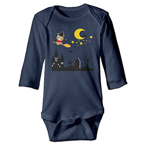 Custom Halloween Baby Girl And Boy Climbing Cotton Long Sleeve Tee Navy [ - 24 Months