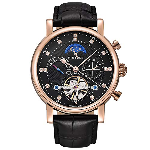 Men Tourbillon Mechanical Stainless Steel Watch Sport Leather Moon Phase Military Automatic Watches for Mens