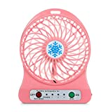 Compia Portable Rechargeable 3 Modes LED Light Fan Air Cooler Mini Desk USB 18650 Battery Fan (Pink)