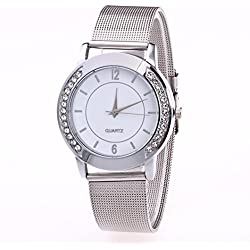 Winhurn Hot Sale Classic Stainless Steel Quartz Women Wrist Watch (Crystal)