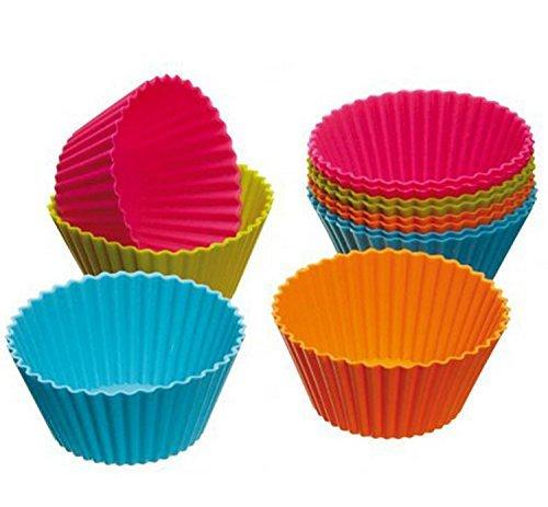 Romote torta rotonda stampi in silicone, Confezione da 12 pz colori assortiti
