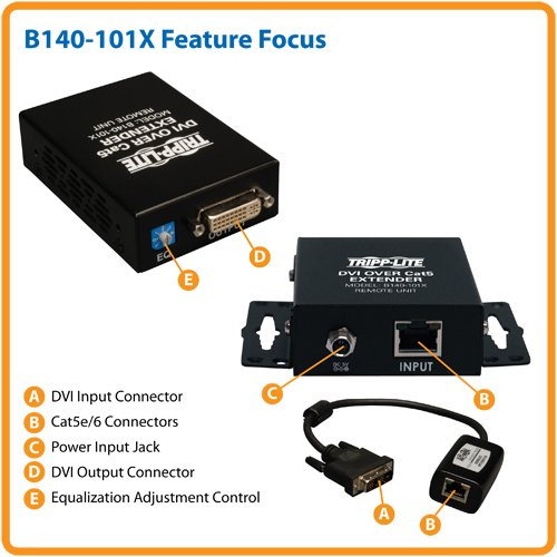 B140-101X Cat6 Extender Tripp Lite DVI over Cat5 Extended Range Video Transmitter and Receiver 1920x1080 at 60Hz