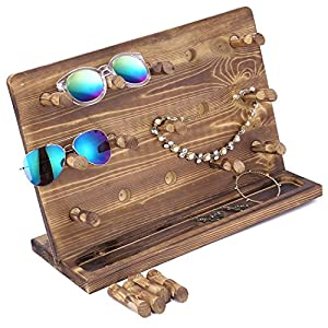 Rustic Burnt Wood Sunglasses & Eyewear Display Stand, Retail Jewelry Hanger Stand with 15 Removable Pegs
