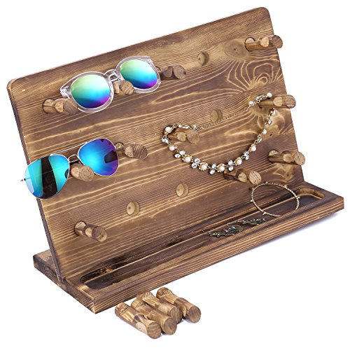Rustic Burnt Wood Retail Jewelry Display Stand, Sunglasses & Eyewear Hanger Tower with 15 Removable - Hanger Sunglasses
