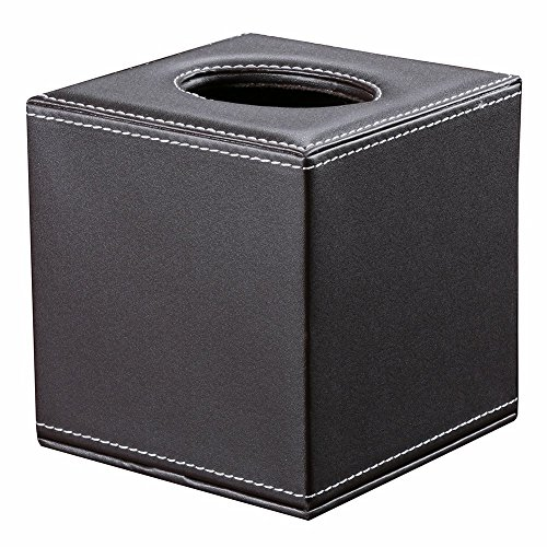 (KINGFOM™ PU Leather Square Roll Tissue Box Holder Cover Napkin Paper Box Case Tray Pumping for Home Office Car (brown))