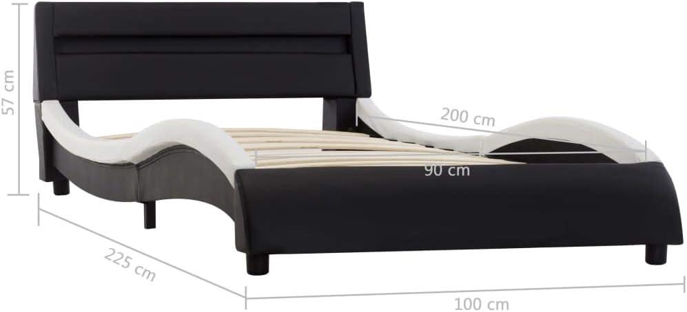Schwarz und Wei/ß 160x200 cm Bettgestell mit Lattenrost Kunstlederbett Tidyard Polsterbett Doppelbett mit LED