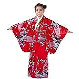 Japanese traditional dress kimono robe for kids girls costume(Red150cm)