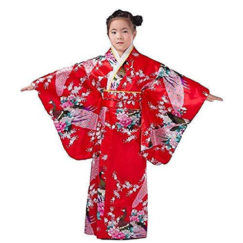 Japanese traditional dress kimono robe for kids girls costume(Red110cm)