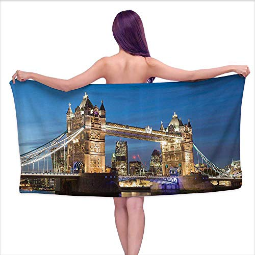 Glifporia Print Bathroom Accessories Set London Decor Collection,Scenery of Shining Landmark Tower Bridge at Twilight with Skyscrapers Behind England Photography,W20 xL39 for Youth Girls Cotton