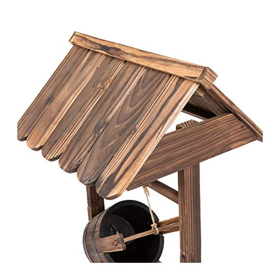 Worldrich 44-Inch Outdoor Garden Rustic Wood Wishing Well Water Fountain with Pump - UL Certified 120V Electric Pump- UL certified 120V electric pump serves as a powerful engine to keep the fountain flowing. High performance pump with 60Hz 3600r/min. Outdoor Deraction- This wishing well water fountain perfectly serves as a outdoor decoration for your backyard, patio, or garden. - patio, outdoor-decor, fountains - 51wY8BDWOcL. SS570  -
