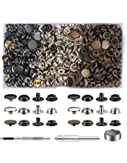 420 Pieces (105 Sets) Snap Fastener Kit Tool 5/8inches (15mm) Snap Button kit Snaps for Leather Leather Snaps and Fasteners kit for Leather Metal Snaps Button for Bag, Jeans, Clothes, Fabric