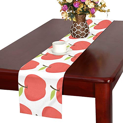 (WHIOFE Cartoon Style Apple Fresh Ripe Seasonal Food Clean Eating Vegetarian Table Runner, Kitchen Dining Table Runner 16 X 72 Inch for Dinner Parties, Events, Decor)