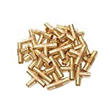 PEX 1/2 x 1/2 x 1/2 Inch Barbed Tee - Crimp Fitting - Bag of 100 pcs/Brass / 0.5 Inch