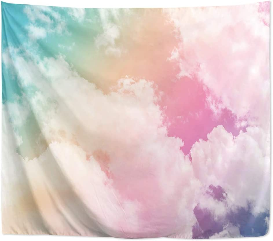 Yookeb Colorful Cloud Tapestry 59W by 51H Inch Wall Hanging Pastel Pink Blue Teen Girls Women Backdrop Sky Bedroom Living Room Dorm Polyester Fabric Home Decor