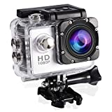 fosa Action Camera Waterproof Outdoor Sports Cam with Waterproof Housing Case, Cycling Sports Mini DV Camcorder Build in Rechargeable Batteries with Mounting Accessories Kits(Silver)