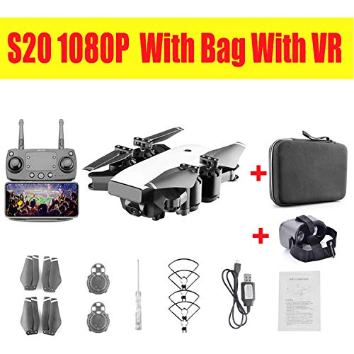 Drone with HD 1080P WiFi Camera Hovering FPV Quadcopters 5MP Folding RC Helicopter Storage Bag Toy for boy s20w,5mp WiFi Bag vr