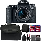 Canon EOS 77D 24.2MP DSLR Camera + 18-55mm Lens + 128GB Memory Card + Wallet + Reader + Lens Pen + Dust Blower + Case