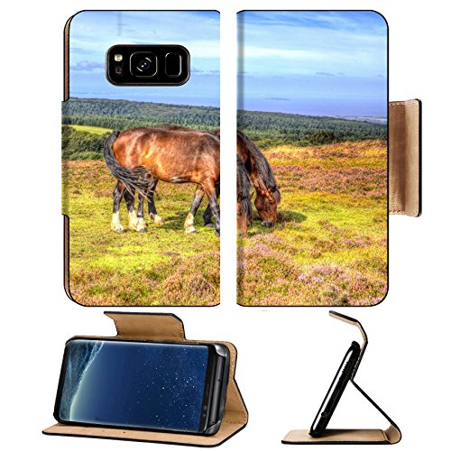 Liili Premium Samsung Galaxy S8 Plus Flip Pu Leather Wallet Case ID: 27373631 Ponies on Quantock Hills Somerset England with purple heather like painting in - Somerset Stores In