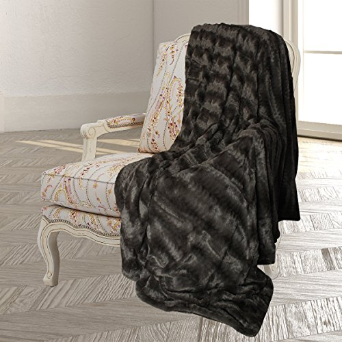 Swift Home Embossed Faux Fur Throw Blanket & Bedspread - Luxurious Over-Sized Faux Fur Bed Throw Blanket -King, 108