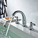 Fapully Bathroom Sink Faucet Lavatory Vanity Faucet Contemporary Widespread Two Handle Three Hole Centerset Chrome