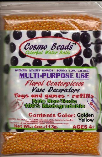 Water Pearls Gel Beads- Wedding & Event Centerpieces- Cosmo Beads (Tm)-makes 3 Gallons (4 Oz. Pack) (Sun Shine (Golden Yellow))