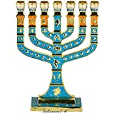 Blue Enamel Menorah 7 Branches Jerusalem Candle Holders 12 Tribes Israel Judaica Gift - Height 5 inch