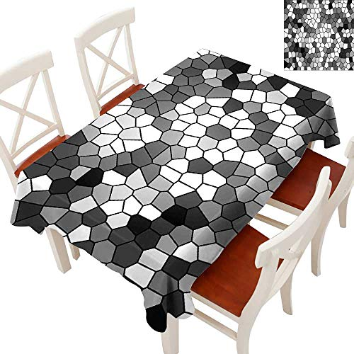 (Grey and White Rectangle Tablecloth Stained Glass Pattern with Abstract Composition Mosaic Washable Polyester - Great for Buffet Table, Parties, Holiday Dinner, Wedding & MoreCharcoal Grey White and)