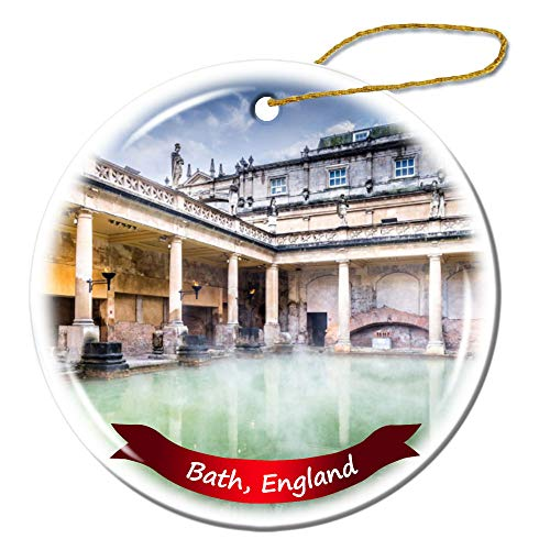 Fhdang Decor Bath England Christmas Ornament Porcelain Double-Sided Ceramic Ornament,3 Inches