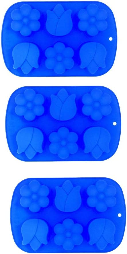 3 x Large Tulip & Daisy flower Ice Cube Chocolate Soap Tray Mold Silicone Party maker (Ships From USA)