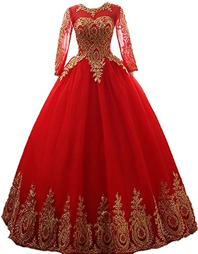 c6b67e56528 DRESS Sweetheart Quinceanera Dresses Gold Appliques Crystal Ball Gown Prom  Dress (Gold and red