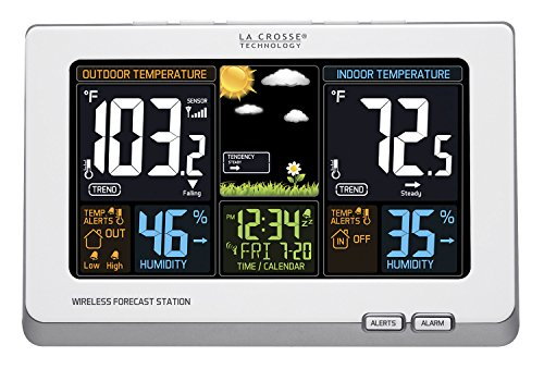 La Crosse Technology 308-1414W Wireless Atomic Digital Color Forecast Station with Alerts, White (Home Clock)