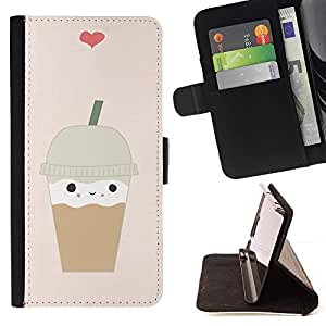 Momo Phone Case / Flip Funda de Cuero Case Cover - Café Coeur Brown mignon - Samsung Galaxy Core Prime