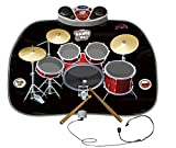 Play Kreative Electronic Drum Kit Set Floor Fun Play Mat - Amazing Gifts for Boys & Girls - Playmat Includes Drumsticks Headphone and Microphone