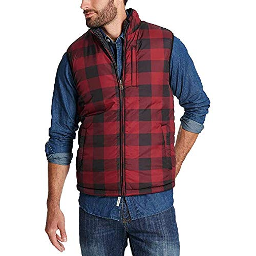 - Weatherproof Mens Reversible Vest (Red Plaid, XL)
